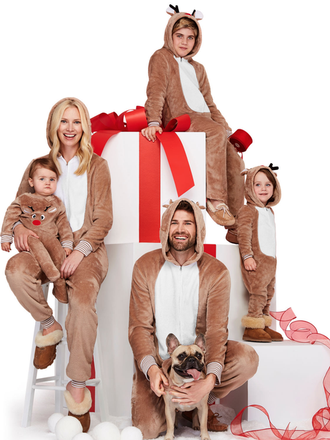 reindeer one piece family pajamas