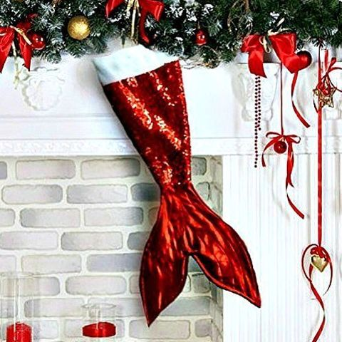 the sea glass seahorse red mermaid tail christmas stocking for kids