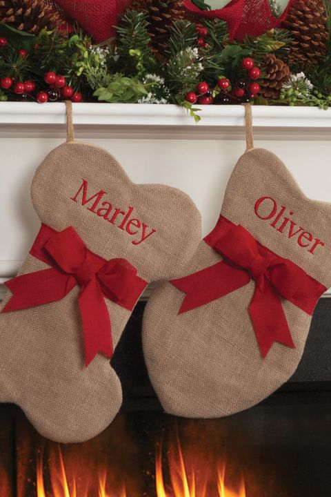 personalized burlap cat and dog christmas stocking