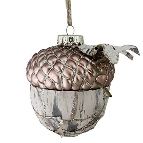 1 rose gold glass glittered acorn christmas ornament amazon