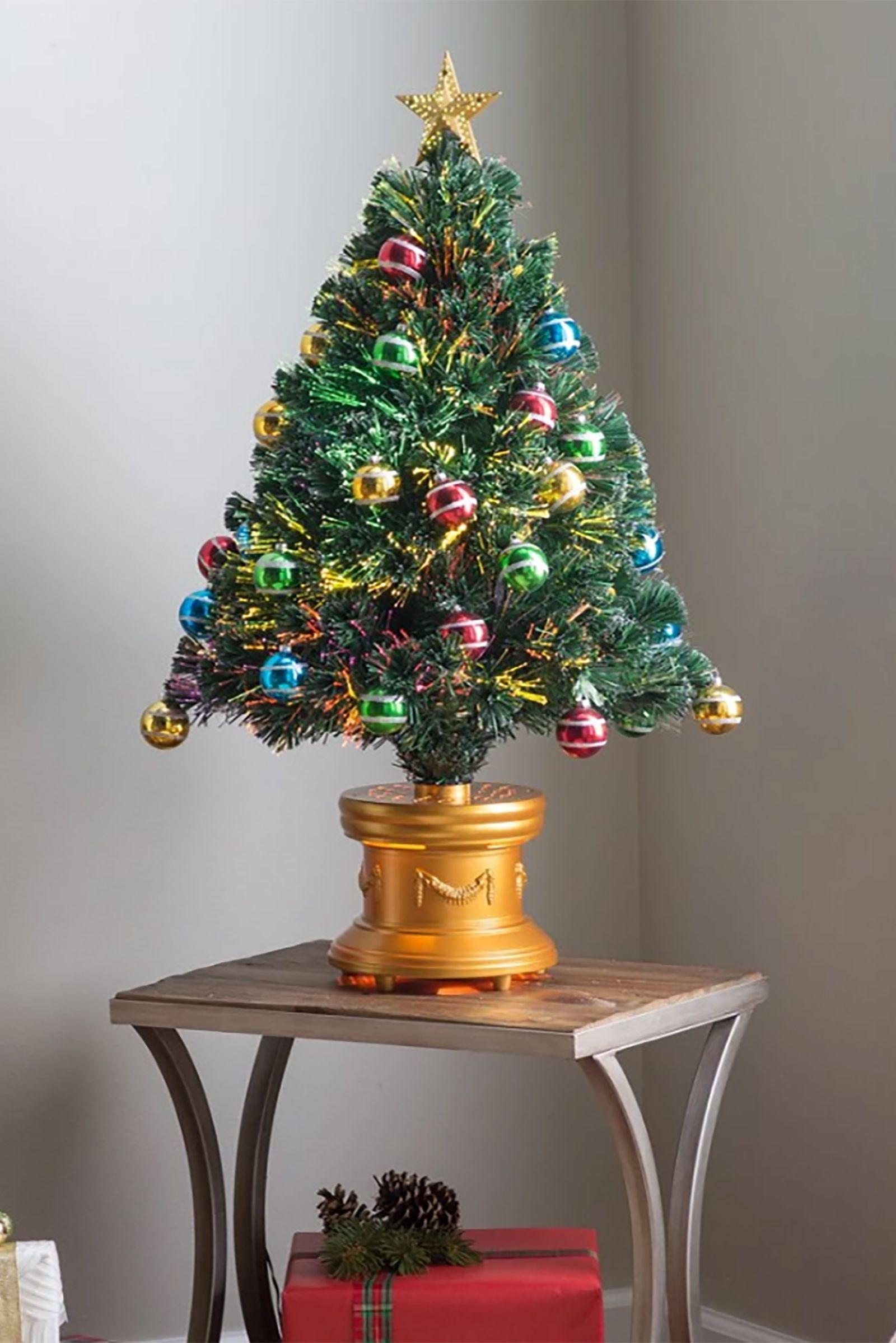 Fiber Optic Artificial Fireworks Tree With Ball Ornaments