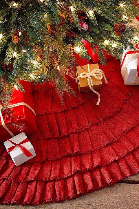 amazon burlap ruffled tree skirt - Burlap Christmas Decorations For Sale