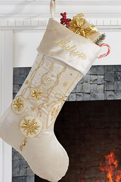 personalization mall modern stocking - Embroidered Christmas Stocking