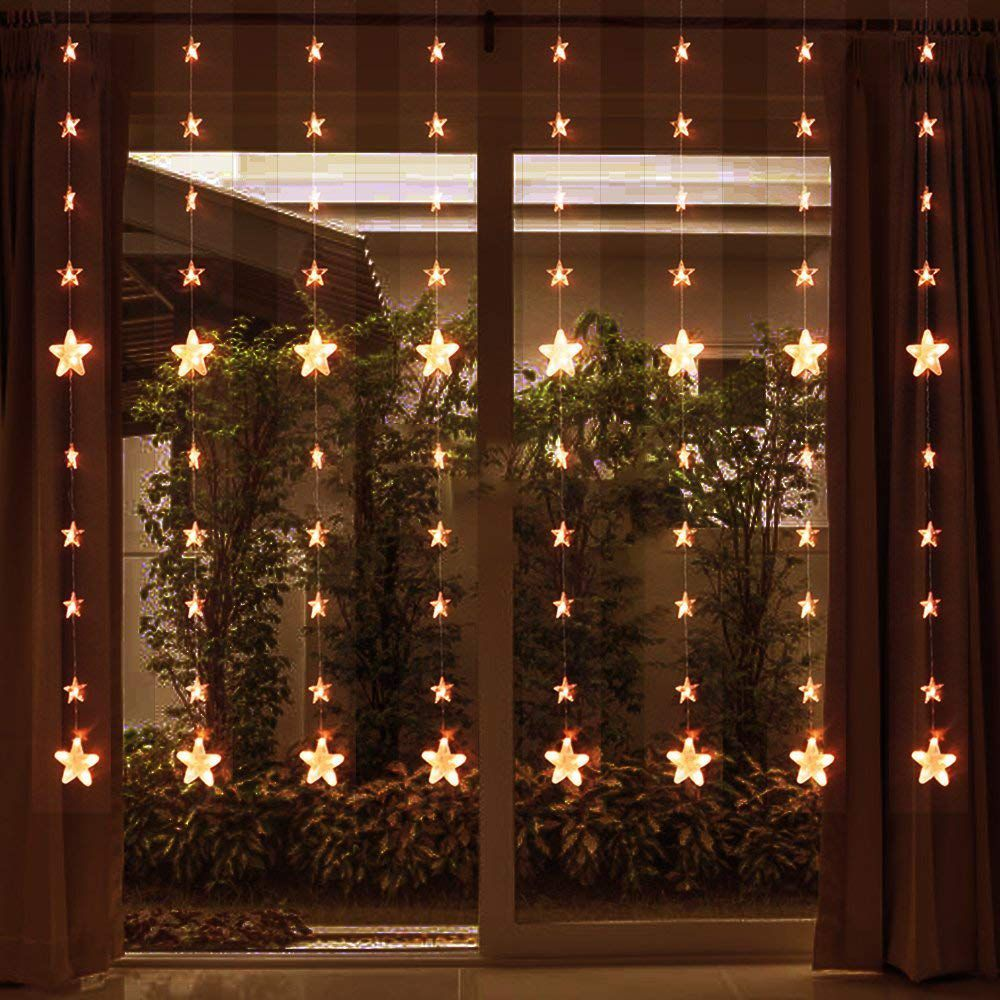 144 Count Star Curtain Lights