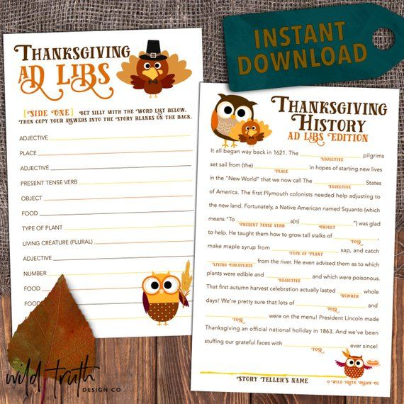 picture regarding Thanksgiving Mad Libs Printable named 15 Most straightforward Thanksgiving Game titles for Small children - Spouse and children Activity Designs for