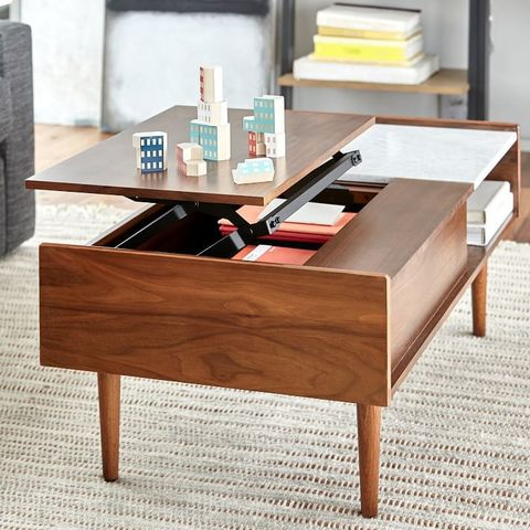 1 Mid Century Pop Up Storage Coffee Table