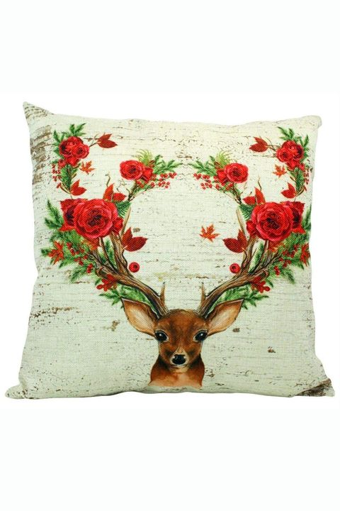 floral deer christmas pillow cover