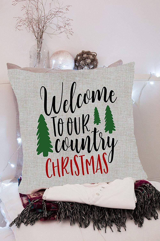 Astounding Welcome To Our Country Christmas Pillow Cover Inzonedesignstudio Interior Chair Design Inzonedesignstudiocom