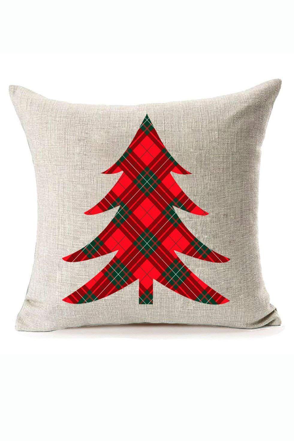Plaid Christmas Tree Pillow Cover