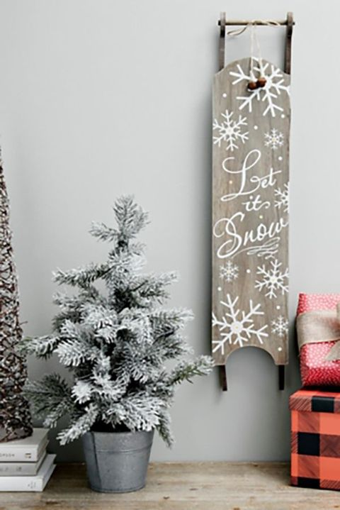 let it snow sled wall hanging - Christmas Wall Decoration Ideas