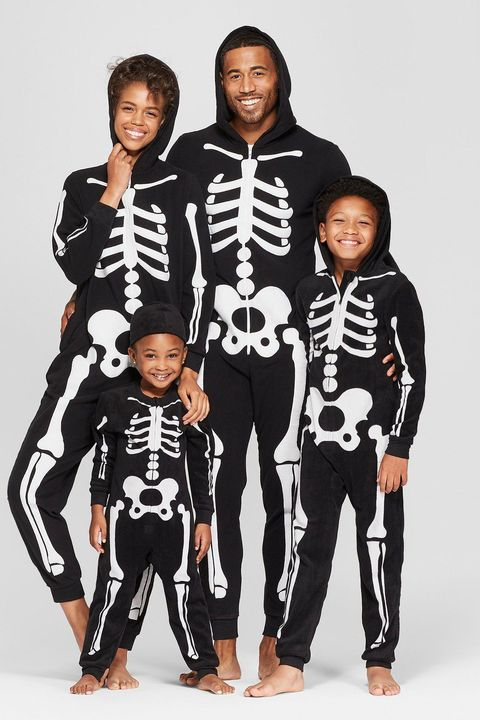 matching skeleton halloween jammies