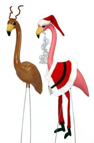 amazon - Christmas Flamingos Yard Decorations