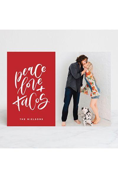 Cool Christmas Cards.Peace Love Tacos Card