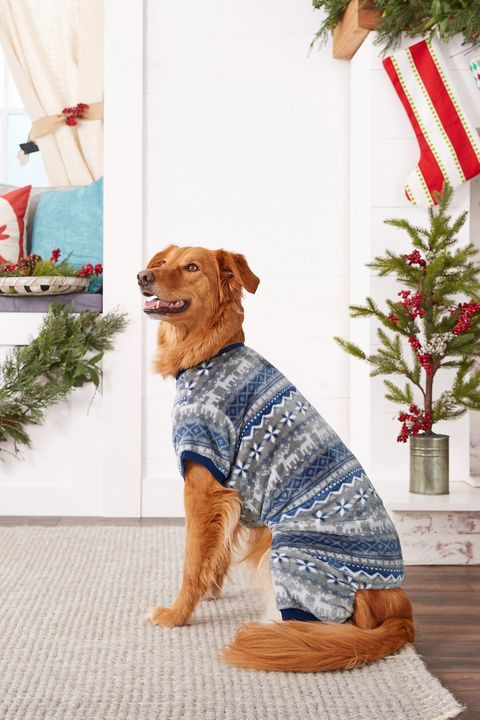 holiday fair isle dog cat cozy fleece pjs