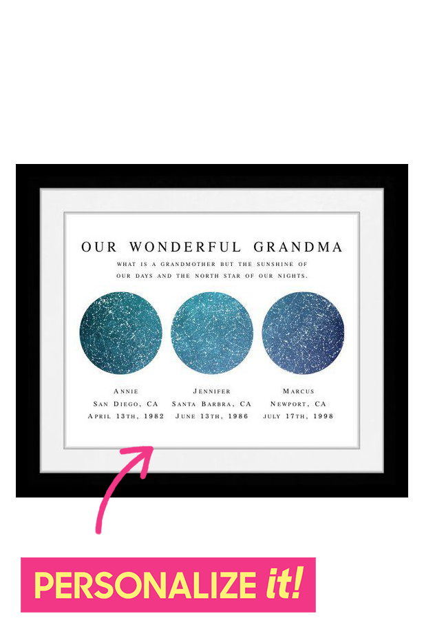 30 Best Gifts for Grandma - Good Christmas Gift Ideas for Grandmothers 2018 - Personalized Star Portrait
