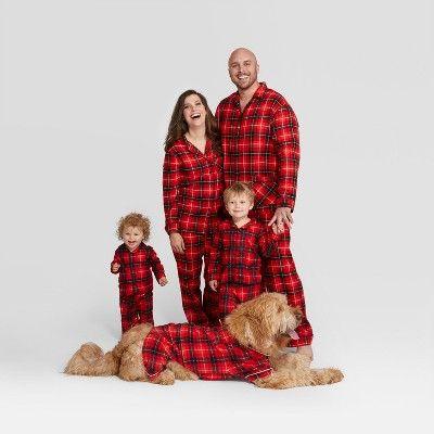 holiday red plaid collar family pajamas collection - Target Christmas Pjs