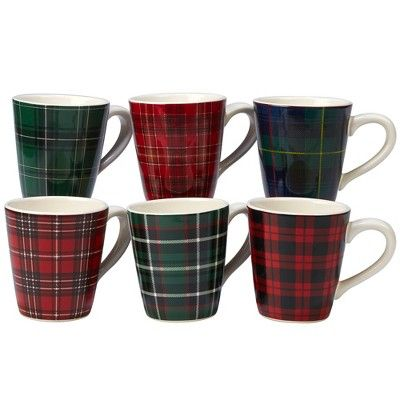 christmas plaid ceramic mugs set of six