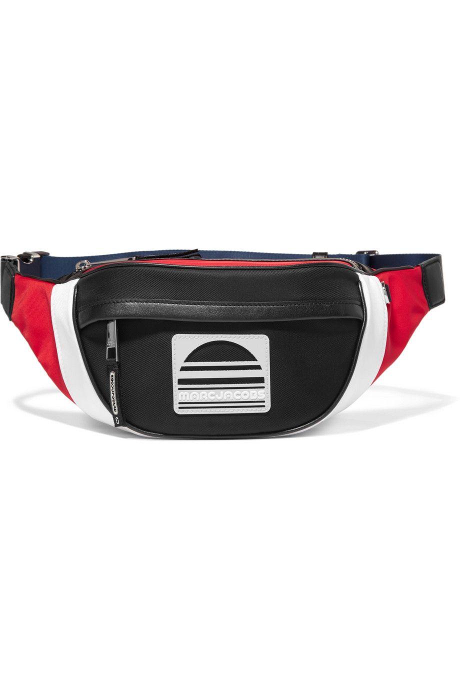 Color-Block Leather-Trimmed Twill Belt Bag