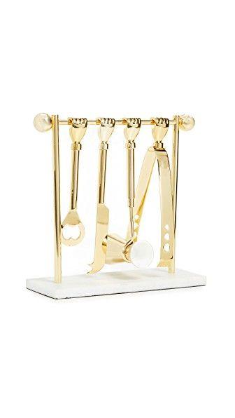 Brass Barbell Barware Set