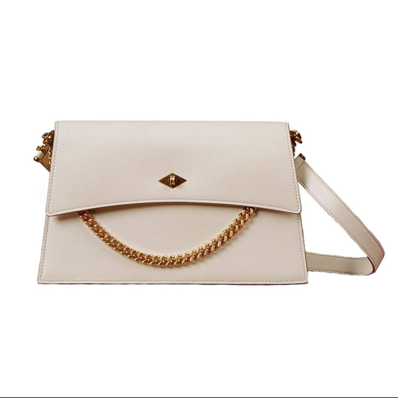 Roma Small Shoulder Bag in White Sand