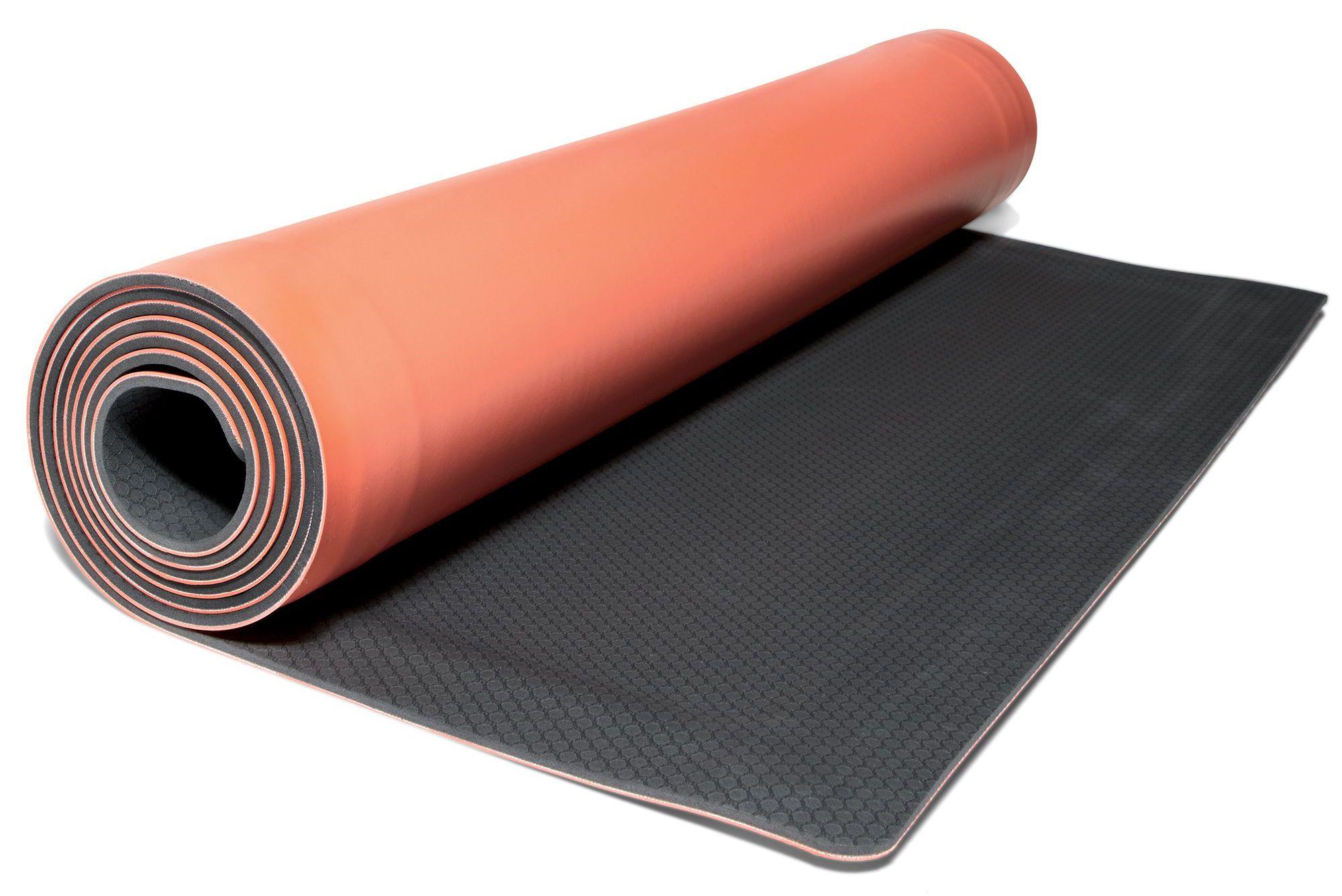 this smart backslash fit yoga mat rolls itself up