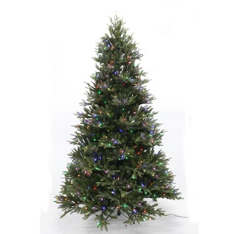Majestic Fir 7.5-Foot Pre-Lit LED WRGB Artificial Christmas Tree