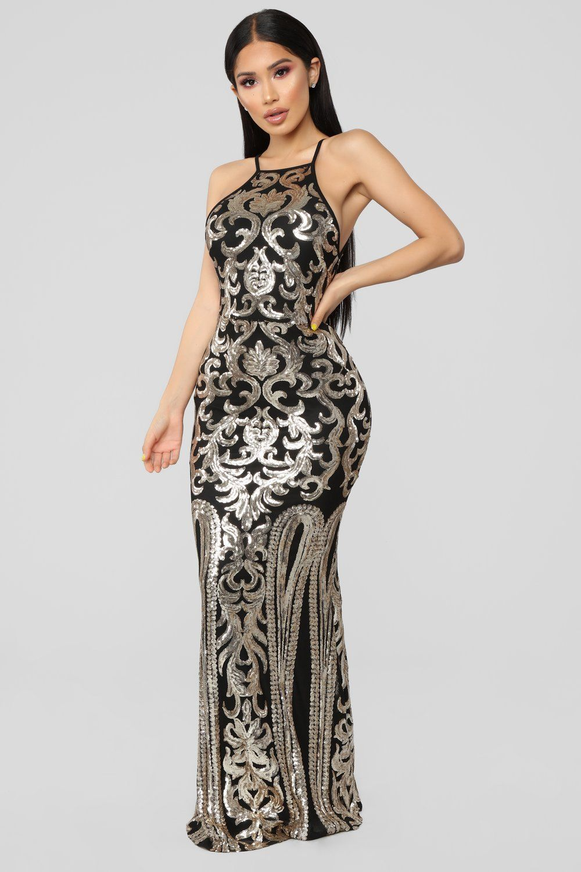 1963d200 Black And Gold Sequin Dress Fashion Nova - raveitsafe
