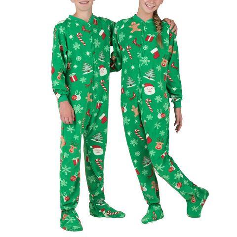 Footed Fleece Kids Pajamas in Tis the Season