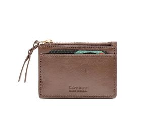 Lotuff Zippered Leather Credit Card Wallet