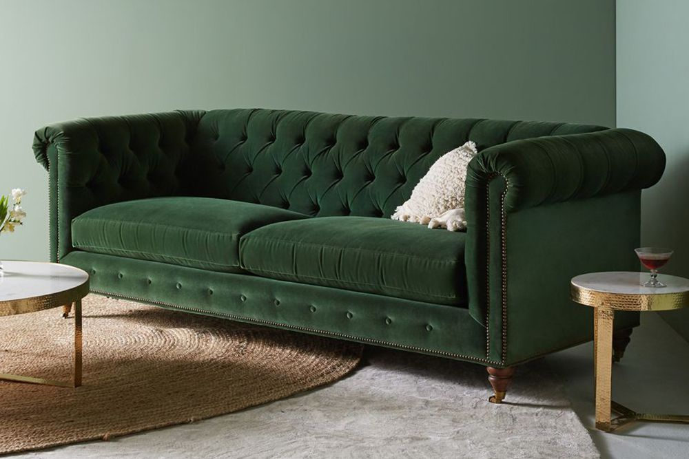 Anthropologie Lyre Chesterfield Two Cushion Sofa