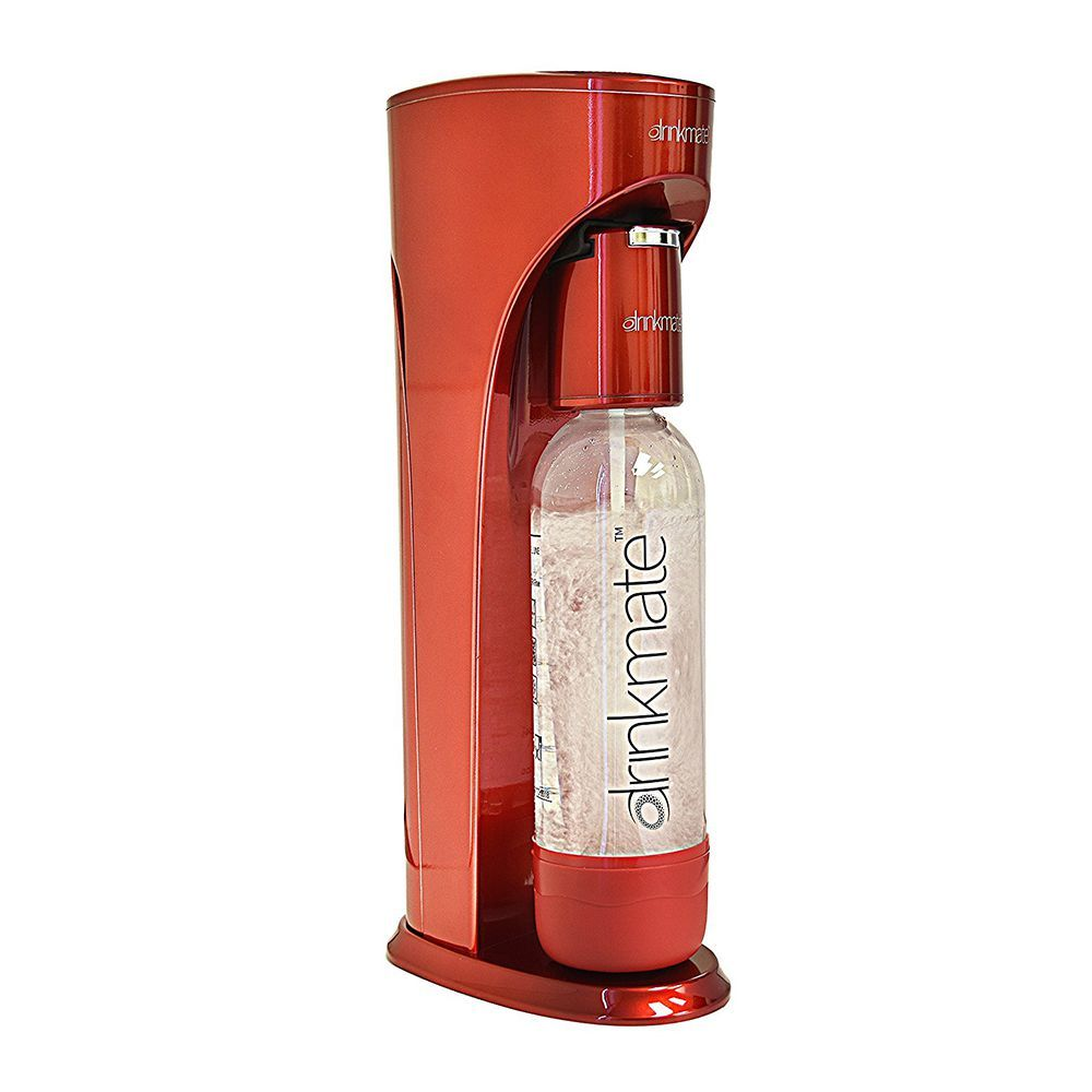 Grey Ellemate ICMOGR100 100 Iconic 1 Liter Soda Infuser Carbonation CO2 Maker Single Push Bubble Beverage Machine with Reusable Bottle
