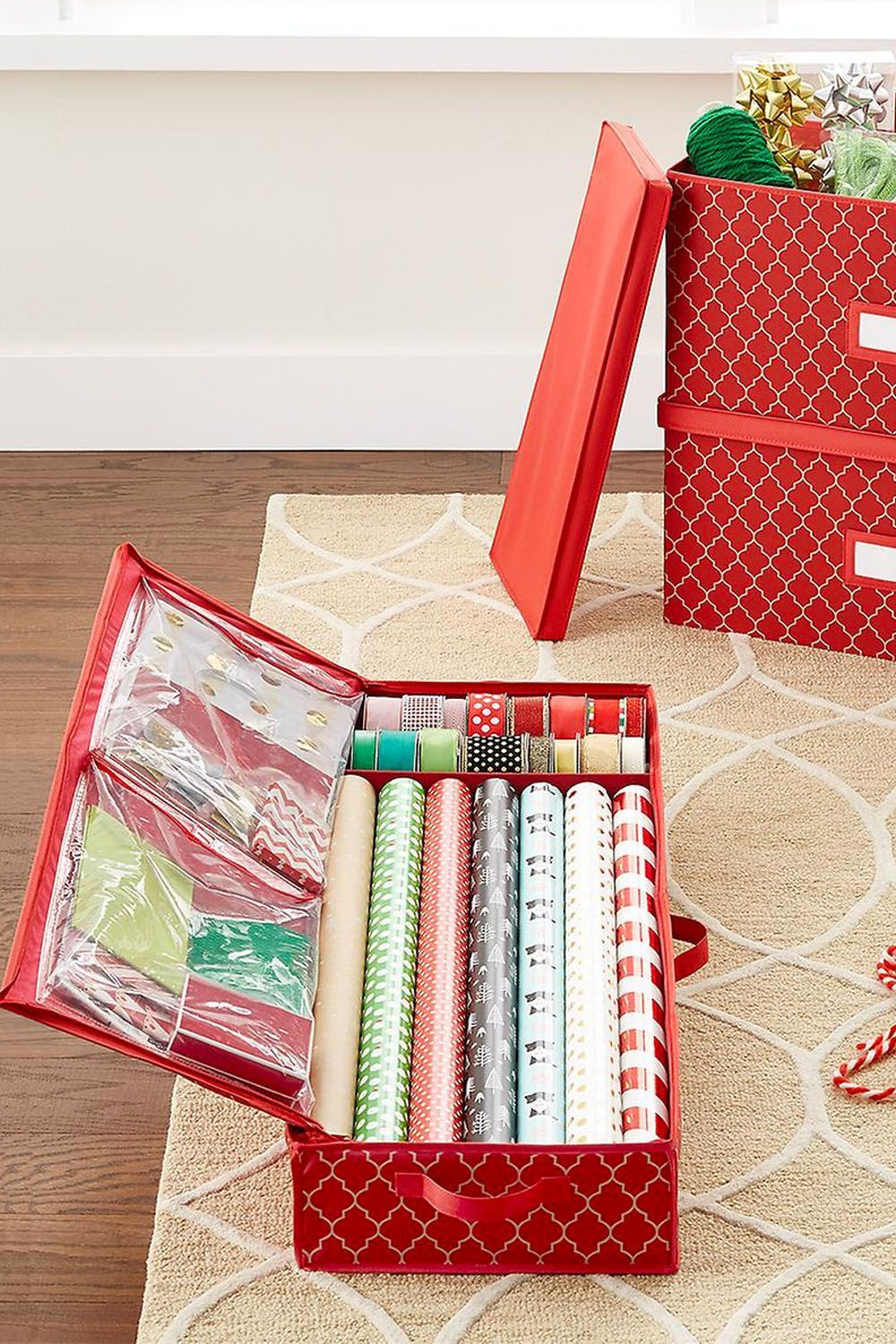The Container Store & How to Organize Wrapping Paper - 15 Gift Wrap Organization Ideas