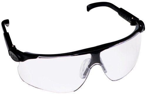 3M 13250 Mabyim Adjustable Temple Safety Glasses, Black Frame, Clear Lens