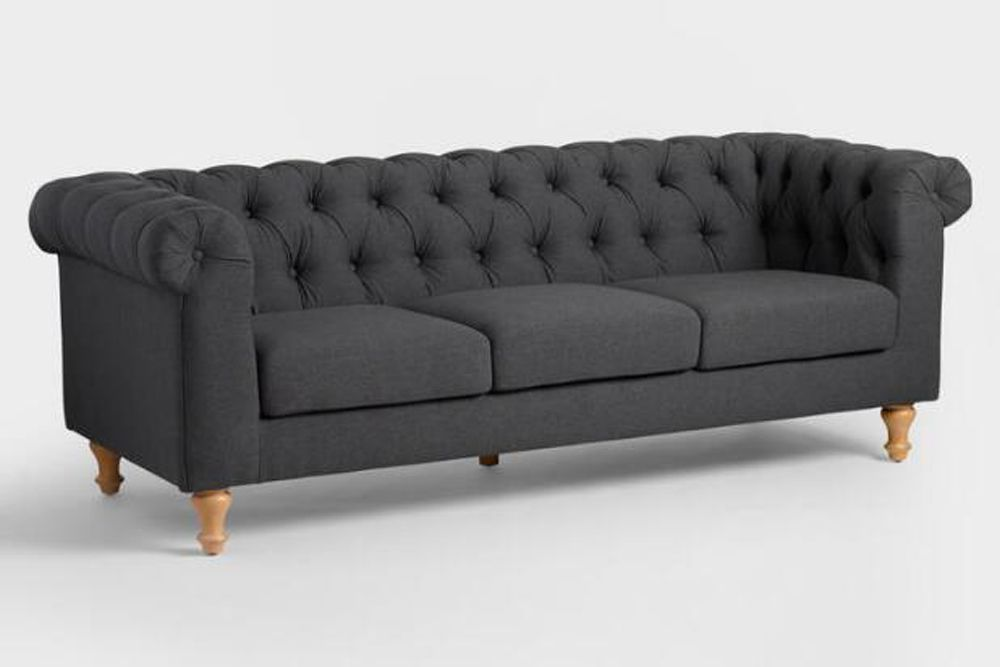 Charcoal Gray Quentin Chesterfield Sofa