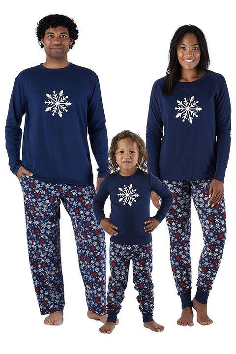 Christmas Red Green Striped Family Pajama Sets Kids And Adult. amazon navy  snowflake pajamas 639b2e660