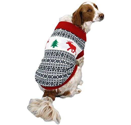 Matching Ugly Christmas Sweaters For Dog And Owner.Holiday Reindeer Dog Sweater