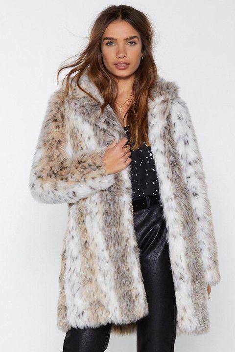 21 Faux Fur Coats Under 100 Best, Snow Leopard Fake Fur Coat