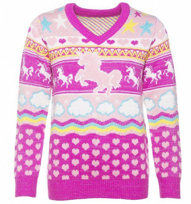 22fbb90a613 Unicorn Knitted V-Neck Jumper