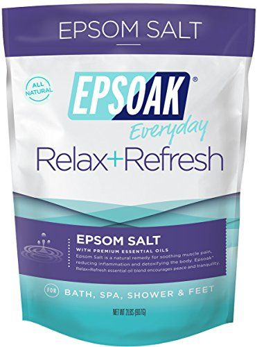 Epsoak Everyday Epsom Salt - 2 lb  Relax + Refresh - For Bath, Spa, Shower  & Feet (Everyday Epsom Salts)