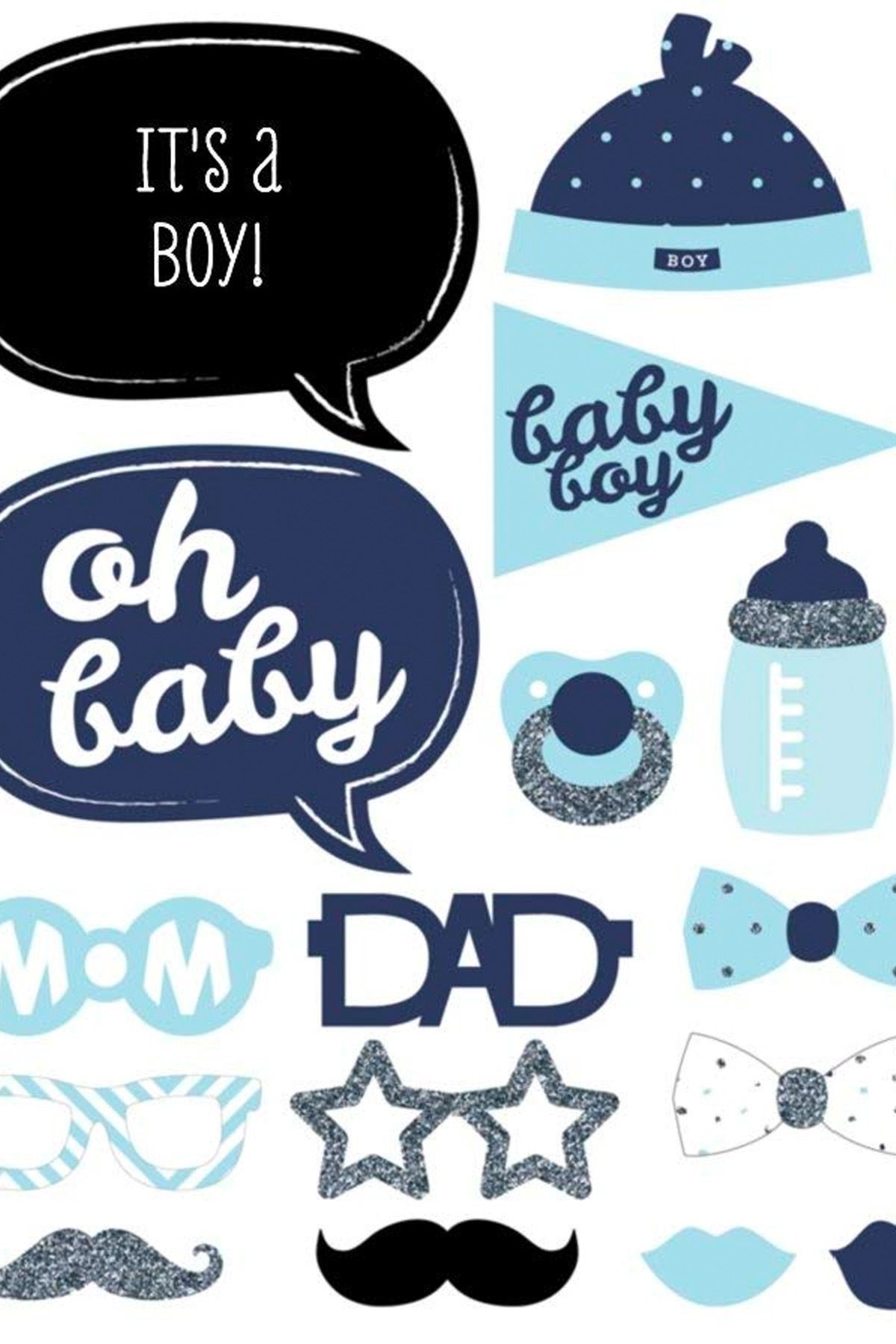 Boys Blue Moustache Theme Baby Shower Baby Animal Game Pack of 16