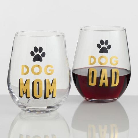 Dog Mom And Dad Stemless Wine Glasses