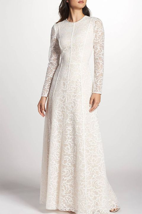 Tadashi Shoji Sheer Sleeve Lace A Line Gown