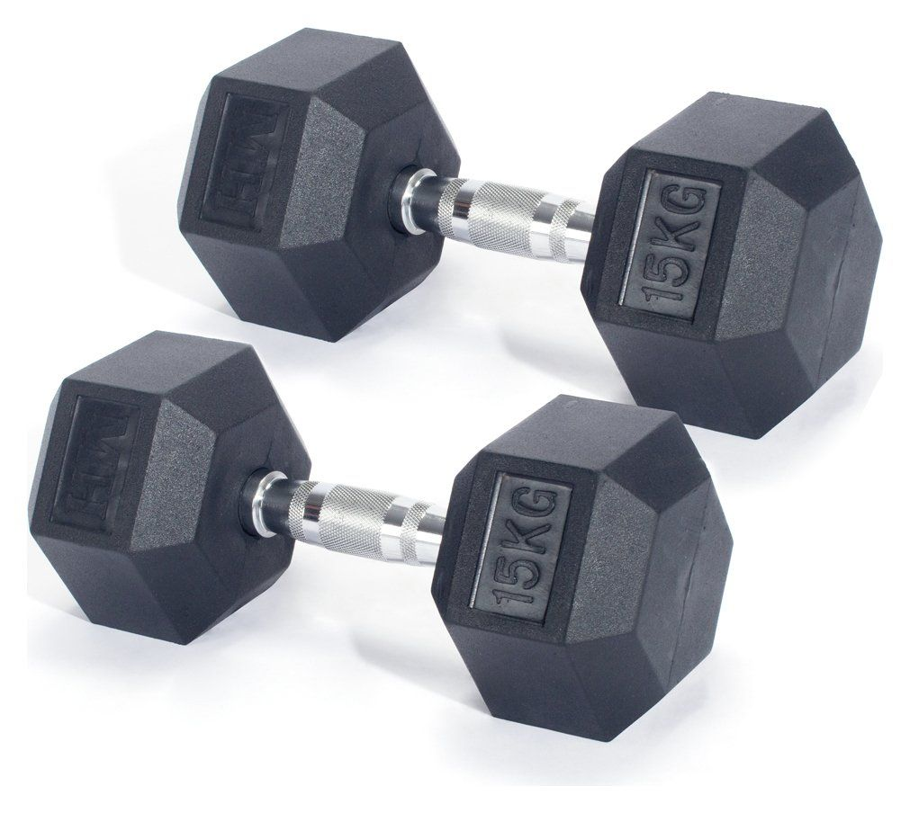 Men's Health Hex Dumbbells - 2 x 15kg