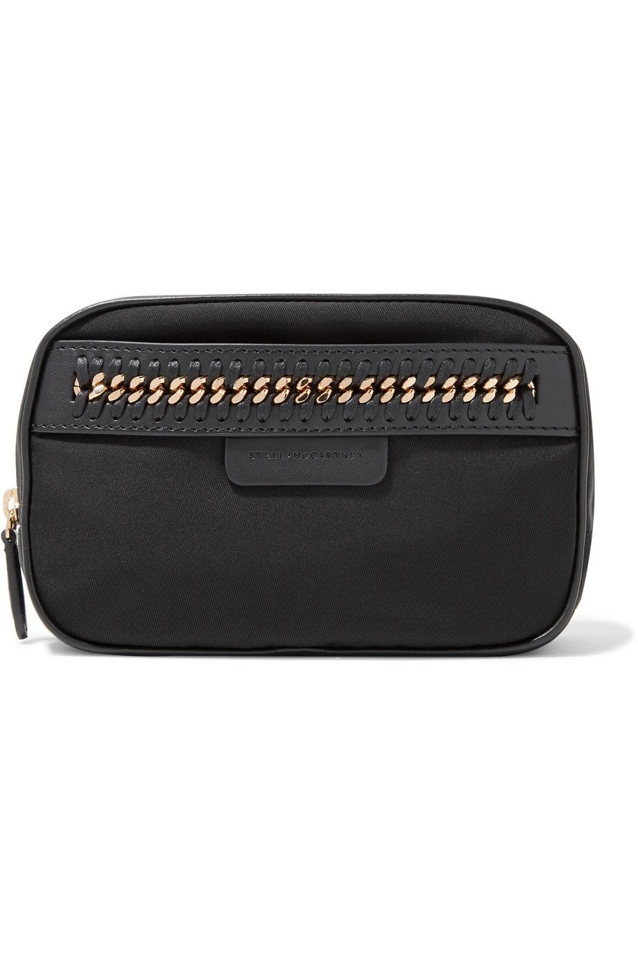 Chain and Faux Leather-Trimmed Shell Cosmetics Case