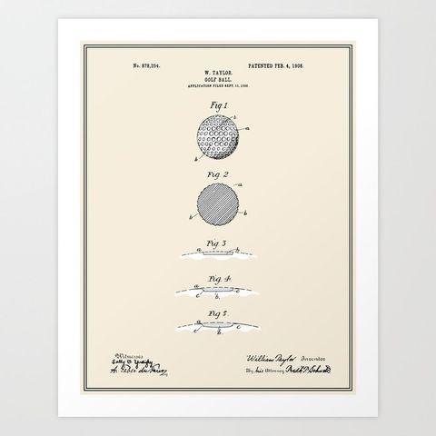 Golf Ball Patent Art Print