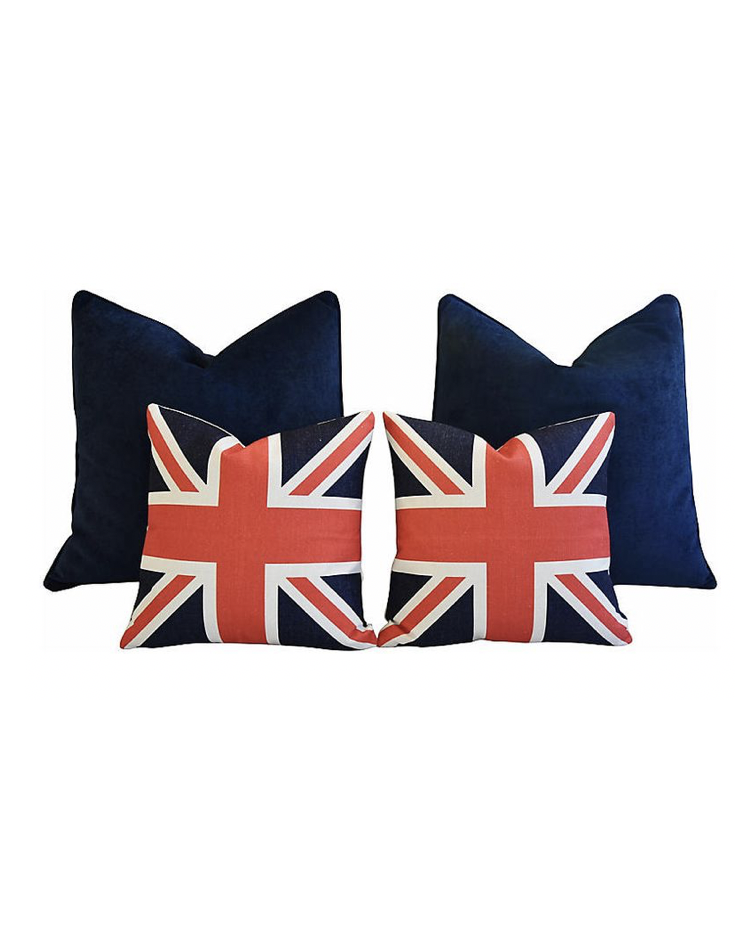 Blue Velvet & Union Jack Pillows
