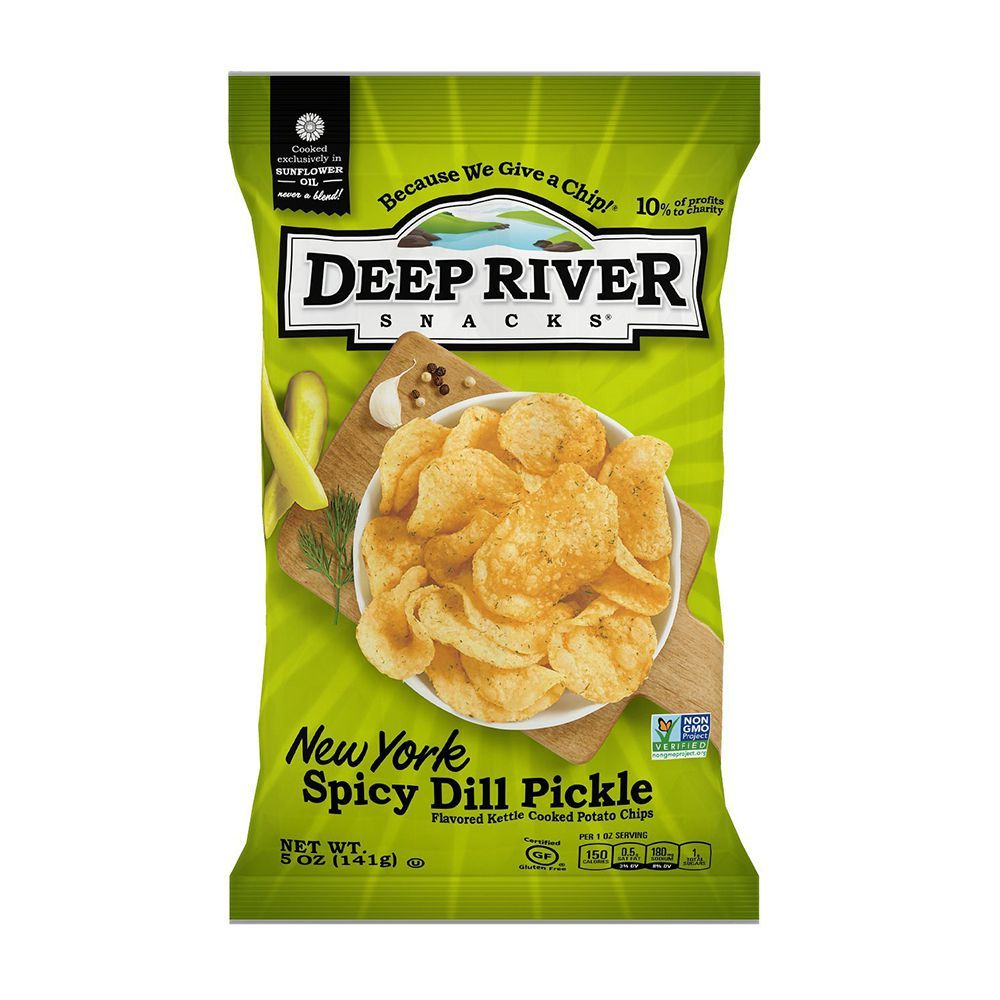 Deep River Snacks New York Spicy Dill Pickle Potato Chips (12-Pack)