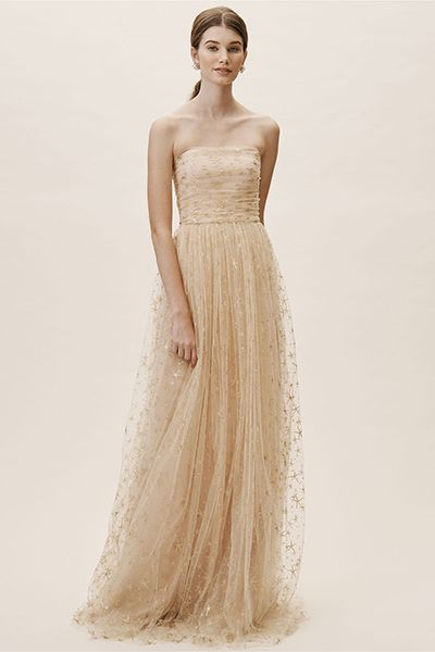 14 Best Gold Wedding Dresses 2020 Sparkly Champagne Wedding Gowns