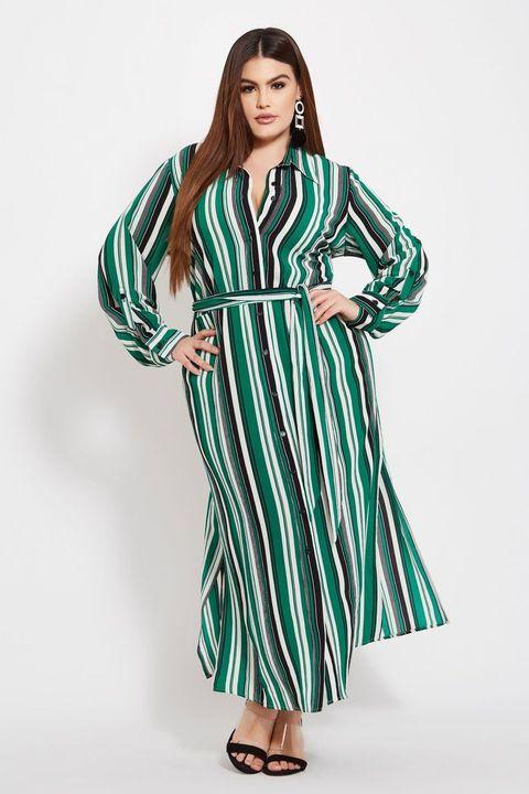 34baf917818 Ashley Stewart. Ashley Stewart Plus Size Striped Button Front Maxi Dress