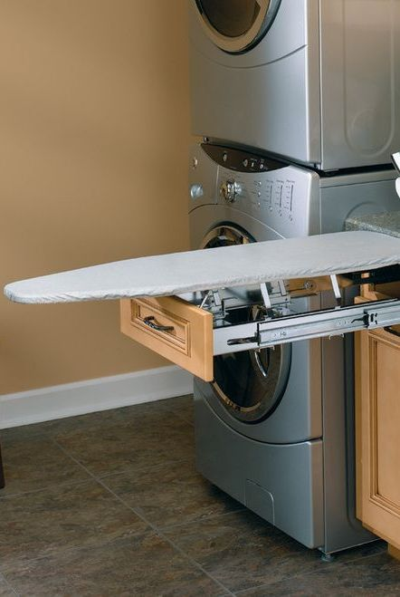 ironing board that pulls out of cabinet drawer